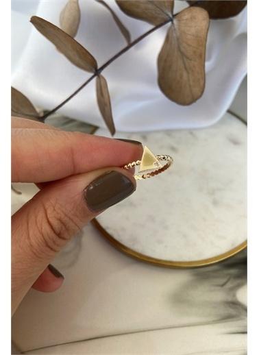 My Joyas Design Boncuklu Üçgen Mimal Yüzük Altın